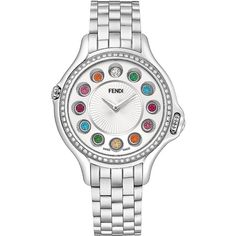 Fendi Ladies Crazy Carats Diamond Edition Stainless Steel Bracelet... (7,845 CAD) ❤ liked on Polyvore featuring jewelry, watches, silver, diamond watch bracelet, rainbow jewelry, stainless steel watch bracelet, colorful watches and tri color jewelry