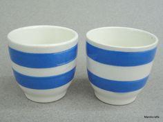 Egg Cup x 2 Carrigaline Ireland Cornish Blue Band Stripe Pair Vintage Cornishware, Egg Coddler, Vintage Dishware, Kitchenware, Tableware, Egg Cups, Blue Band, Pottery Making, Pottery Art