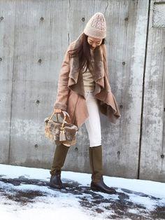 KIRI│DOUBLE STANDARD CLOTHINGのムートンコートコーディネート