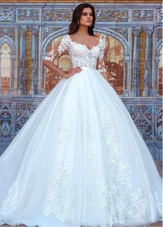 Buy discount Attractive Tulle & Organza Bateau Neckline Ball Gown Wedding Dresses With Beaded 3D Flowers at Dressilyme.com