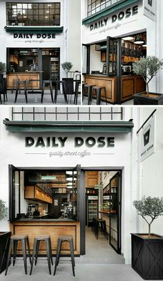 Gorgeous Coffee Shop in Greece! Andreas Petropoulos has recently completed the design of Daily Dose, a small takeaway coffee bar in the city of Kalamata, Greece, that features a white, black and wood interior. Architecture Restaurant, Café Restaurant, Modern Restaurant, Small Restaurant Design, Restaurant Exterior, Cafe Interior Design, Kitchen Interior, Interior Decorating, Decorating Ideas