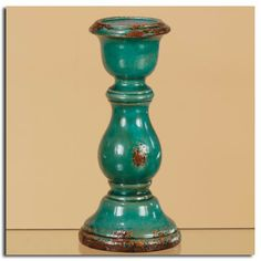 Pillar Candle Holders | Teal Blue Ceramic Pillar Candle Holders - Bedazzle Lights