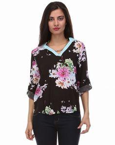 Black Floral V-neck