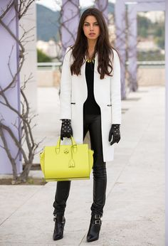 Leather and cream with pops of yellow