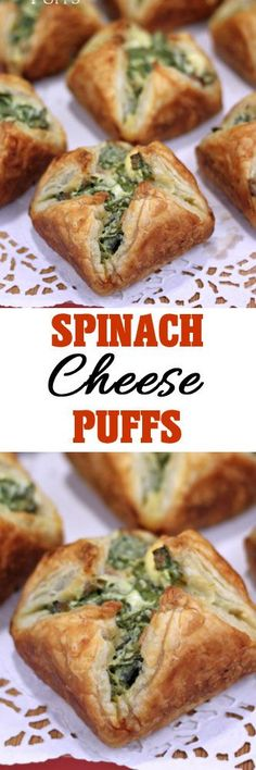 Spinach Cheese Puffs - Pastry puffs stuffed with a cream cheese, bacon and spinach filling and baked in a muffin pan like little packages. Pot Luck, Thanksgiving Appetizers, Thanksgiving Recipes, Spinach Cheese Puffs, Puff Pastry Recipes, Puff Pastries, Appetizer Recipes, Beach Appetizers, Spinach Appetizers