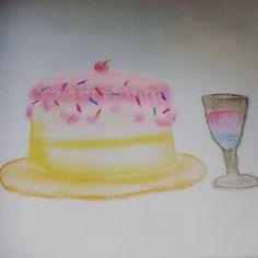 """39 curtidas, 1 comentários - Deborah Silva (@debyh.silva) no Instagram: """"#fevereironadaaver  #Dia10 : #doce Um #bolo ! #drawing #draw #desenho #art #colors #cores…"""""""