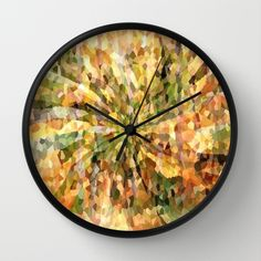 Autumn Crystal Mosaic Abstract Wall Clocks by Judy Palkimas