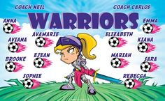 Warriors-154185  digitally printed vinyl soccer sports team banner. Made in the USA and shipped fast by BannersUSA. www.bannersusa.com
