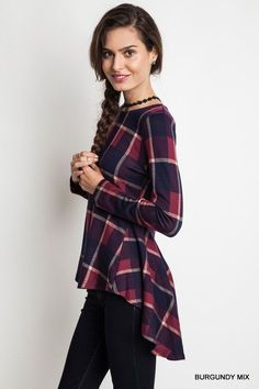 BURGUNDY PLAID FIT & FLARE TOP