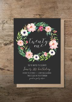 RM Creative offers the unique Flora Wreath birthday DIY printable invitation. This invitation is the perfect fit for a rustic or bohemian styled