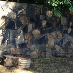 Love this rock fence wall!