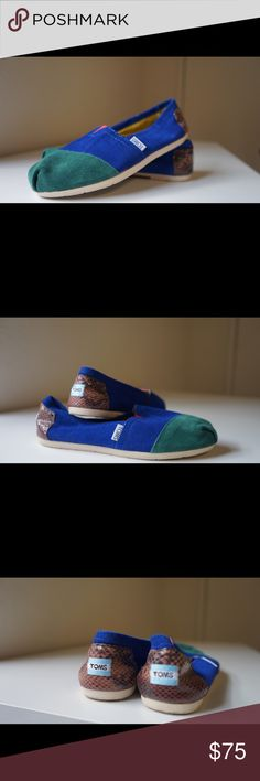 Blue/ Green/ Snakeskin print Slip-On, TOMS+ Line TOMS+ line.  Green, Blue and Snakeskin print. Very comfortable for everyday use. Rare pair of TOMS. Sold at Neiman Marcus for a limited time. Used only once. TOMS Shoes Flats & Loafers