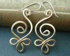 Celtic Budding Spiral Brass Wire Earrings by nicholasandfelice