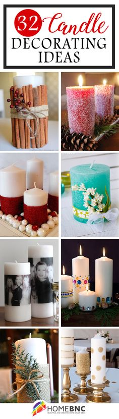 Homemade christmas decorate a pillar diy decorated candles hoosier homemade 19 delightful diy christmas candle holders diy mason jar candles hiness Best Decorated Candle Ideas And Designs For Read Christmas Table Centerpieces, Christmas Candles, Christmas Decorations, Candle Decorations, Homemade Candles, Diy Candles, Pillar Candles, Xmas Crafts, Decor Crafts