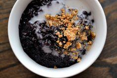 black rice pudding, salted coconut milk + sesame brittle — from me to vuu