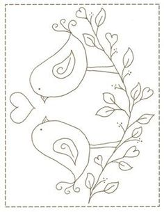 Love Birds stitchery pattern: