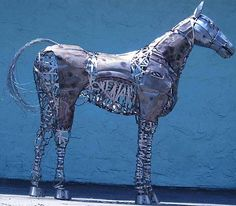 Horse sculpture made out of recycled steel.