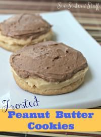 Six Sisters Frosted Peanut Butter Cookies Recipe.  These are the perfect with chocolate and peanut butter!