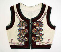 Romanian vest, wool, cotton, 1900-1981
