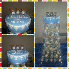 Boys christening cake and cupcake tower