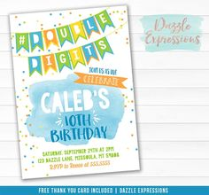 Printable Boys Double Digits 10th Birthday Invitation | Free thank you card | Watercolor Tenth Birthday Party | DIY Party Package Available| Banner | Confetti | Favor Tags | Cupcake Toppers | Water Bottle Labels | Signs | Candy Bar Wrappers and More! 10th Birthday Invitation, Printable Birthday Invitations, Printable Thank You Cards, Free Thank You Cards, Chalkboard Invitation, Birthday Chalkboard, Bounce House Birthday, It's Your Birthday, Karate Birthday