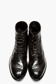 537519bc41cf4c OFFICINE CREATIVE Black Leather Brogued IGNIS Tinto Boots Officine Créative,  Dr Martens Bottes, Accessoires