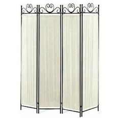 4-panel Room Screen Divider Ivory Linen Fabric Linen and Metal Frame