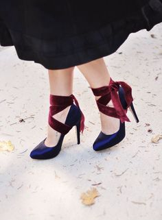 Dress up plain pumps with a velvet ribbon, helps keep your heels on too.