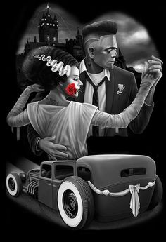 Frankenstein and bride. Frankie lookin' real fresh with that fade. Lettrage Chicano, Chicano Love, Chicano Tattoos, Tattoo Studio, David Gonzalez, Aztecas Art, Tattoos Realistic, Lowrider Art, Frankenstein's Monster