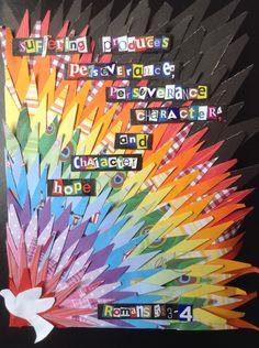Ausdauer Römer Collage - † The Inspired Word of God † - Kids Church, Church Ideas, Religious Bulletin Boards, Angel Artwork, Church Banners, Church Crafts, Sunday School Crafts, Collaborative Art, Recycled Art