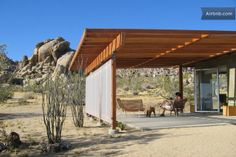 Joshua Tree Vacation Rental - VRBO 443926 - 1 BR Deserts Cabin in CA, 'Modernist Jewel' on National Park Border, Surrounded by Boulders Porches, Joshua Tree Airbnb, Surf Lodge, Modern Tiny House, Modern Homes, Home Landscaping, High Desert Landscaping, Desert Homes, Cabin Homes