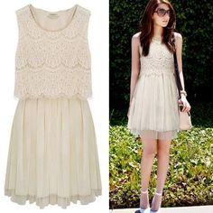 Apricot sleeveless crochet lace gauze hem dress US$33.04