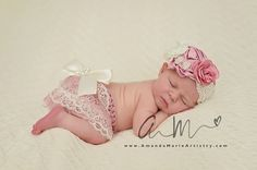 Newborn Vintage Couture dusty pink Flower by LovelyBabyKnits