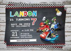 FREE Printable Mario Kart Birthday Invitation Set Super Mario Bros
