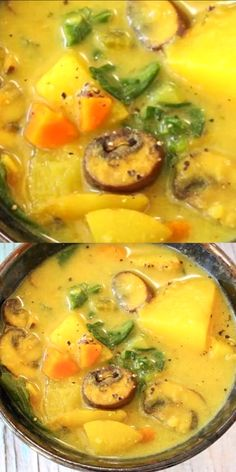 A creamy potato mushroom soup reminiscent of a rich chowder but made with whole food vegan ingredients that are nutritious and good for you soup easyrecipe potatoes plantbased vegan 627618898049597990 Healthy Recipes, Whole Food Recipes, Vegetarian Recipes, Cooking Recipes, Vegetarian Dish, Vegan Recipes Videos, Easy Cooking, Pasta Recipes, Cooking Tips