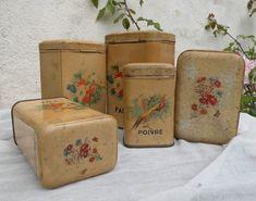 French vintage chic antique vintage storage tins by LaBonneVie72