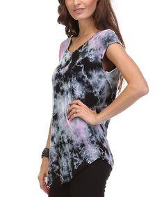 Look at this #zulilyfind! Urban X Black & Fuchsia Tie-Dye Twist Tee by Urban X #zulilyfinds