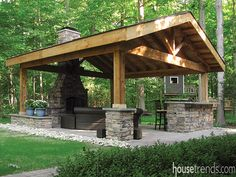 Best Pergola and Pavilion Design Ideas for Your Backyard Backyard Pavilion, Outdoor Pavilion, Backyard Gazebo, Backyard Patio Designs, Patio Roof, Backyard Ideas, Backyard Landscaping, Wooden Pavilion, Glass Pavilion