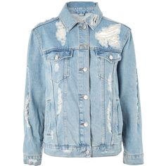 Topshop Moto Extreme Rip Oversized Denim Jacket (1.420 CZK) ❤ liked on Polyvore featuring outerwear, jackets, casacos, shirts, mid stone, 1980s jackets, 80s jackets, oversized jacket, oversized denim jacket and topshop jackets