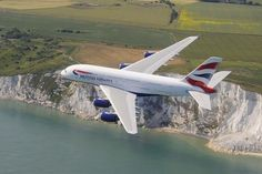 British Airways A380 over the white cliffs of Dover.