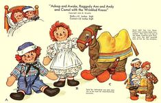 Raggedy Ann Andy Cloth Doll Pattern  PDF INSTANT DOWNLOAD  Full size pattern for Raggedy Ann, Andy and the Camel with the Wrinkled Knees plus all the clothes, blanket and bridle you see on the pattern front. Raggedy Ann and Andy are 13 high when finished and the camel is 12 high. Raggedy Ann and Andy are awake on one side of their head and asleep on the other. Excellent illustrations and instructions, including Cut and Sew Guide, Cutting Layouts, Assembling - Sewing and Finishing Details and…
