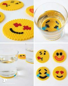 DIY Diy Perler Bead Emoji Coasters - We can all agree that emojis are the lastest hit on the interne Perler Bead Designs, Hama Beads Design, Hama Beads Patterns, Beading Patterns, Perler Bead Emoji, Diy Perler Beads, Hama Beads Coasters, Emoji Craft, Art Perle