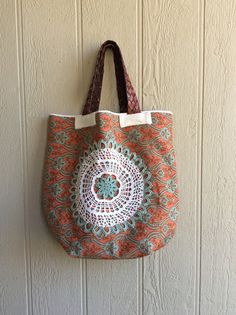 Extra Large Canvas Tote Bag Orange and Turquoise by R2Rfashions