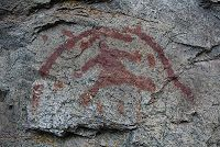 "The ""Drowned Warrior"" painting along Old Hedley Road in British Columbia. One of my favourite pictograph sites."