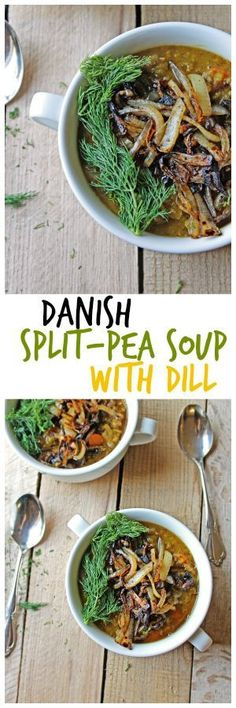split pea soup with dill and crispy onions Vegan Danish split pea soup with dill from Global Feasts Denmark!Vegan Danish split pea soup with dill from Global Feasts Denmark! Vegetarian Split Pea Soup, Split Pea Soup Recipe, Delicious Vegan Recipes, Vegetarian Recipes, Healthy Recipes, Amazing Recipes, Soup Recipes, Cooking Recipes, Chili Recipes