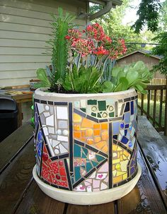 planter mosaic planter with succulents June 08 Mosaic Planters, Mosaic Garden Art, Mosaic Tile Art, Mosaic Vase, Mosaic Flower Pots, Mosaic Artwork, Mosaic Diy, Mosaic Crafts, Mosaic Projects