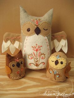 felt embroidered owls owl pillows, famili, colors, felt owls, kids, birds, design, embroidery, crafts