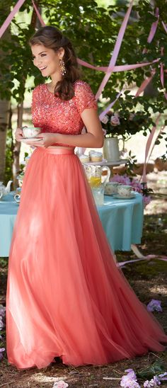 Two Piece Cap Sleeves Long Prom Dress Coral Formal Evening Gown