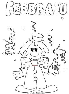 Mesi dell'anno da colorare – Febbraio - TuttoDisegni.com Activities For Girls, Crafts For Kids, Arts And Crafts, Carnival Crafts, All Kids, Preschool Worksheets, Cover Pages, Winter Christmas, Silhouette Cameo