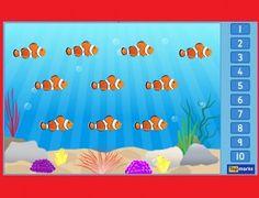 Vissen tellen 2 voor kleuters op digibord op kleuteridee